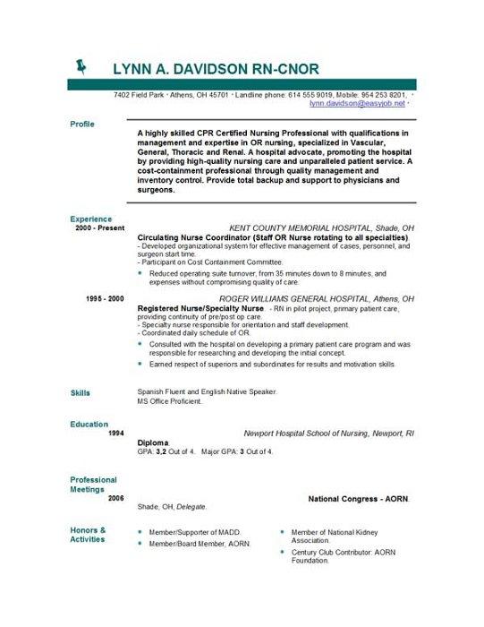 Nursing Resume Templates | EasyJob | EasyJob