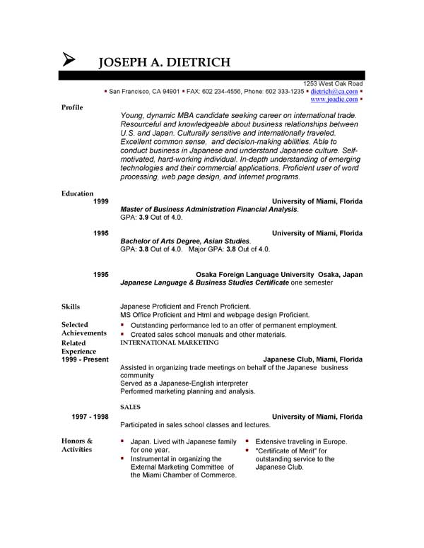 A Good Resume Download | Mouutk