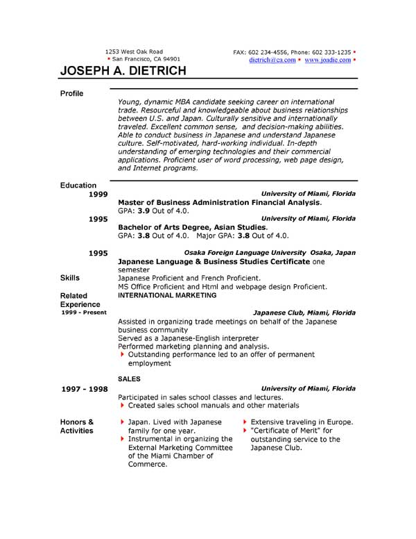 Microsoft Word Resume Templates – DOC
