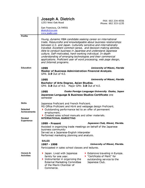 Word Resume | Resume Format Download Pdf