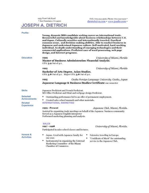 resume templates samples statistical physics 24472