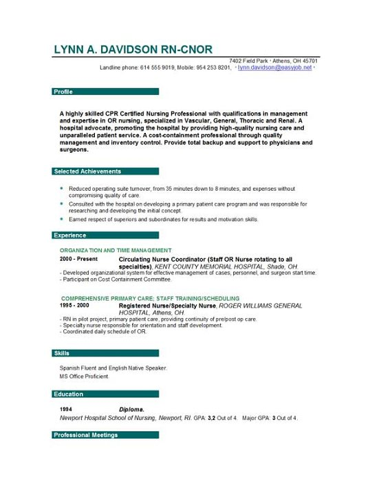 Resume For Nurse Nurse Resume Sample  Gallery Image Naqlafsh