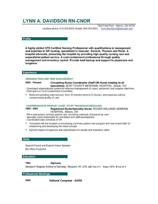 Free Registered Nurse Resume 12345