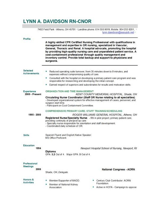 unforgettable operating room registered nurse resume examples to