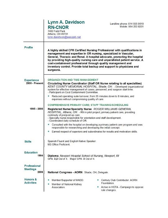 Nursing Job Resume Samples