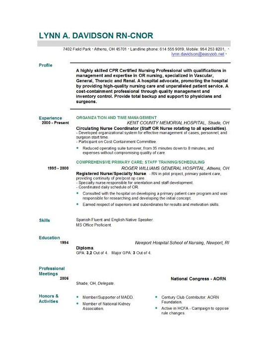 Nursing Cv Template. Registered Nurse Resume Examples New
