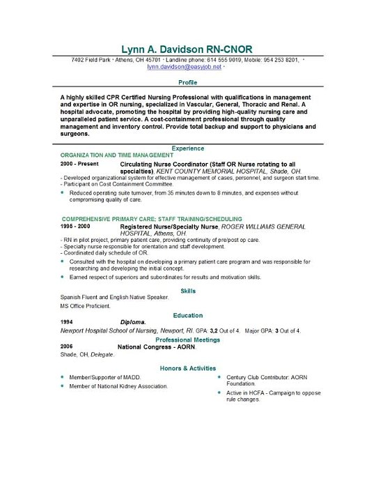 resume for nursing school