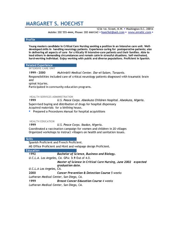 functional resume with no job experience