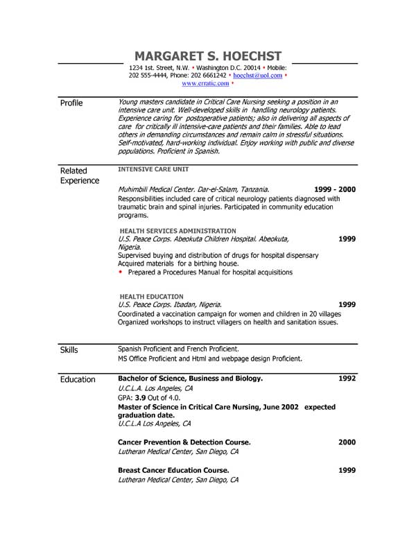 resume examples example of resume by easyjob the best free example resumes in a single place