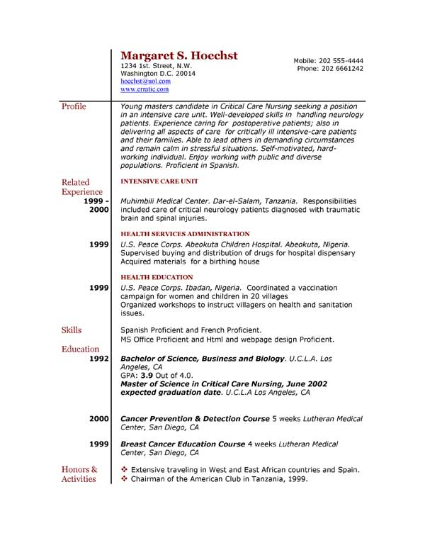 Example of Resume by EasyJob