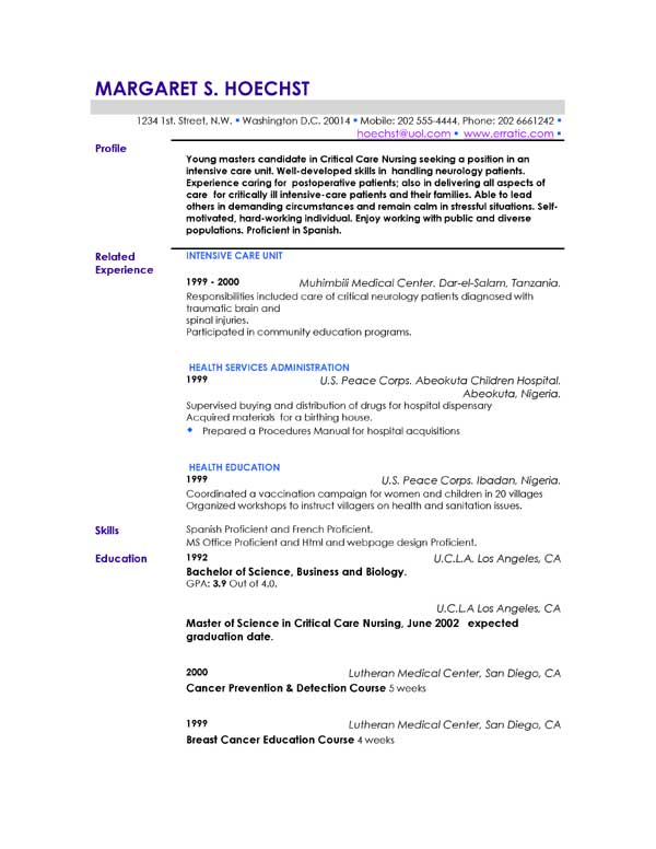 example profile for resume