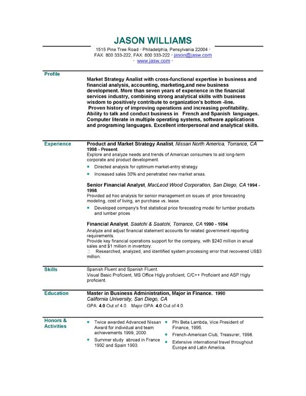 sample resume format for job application