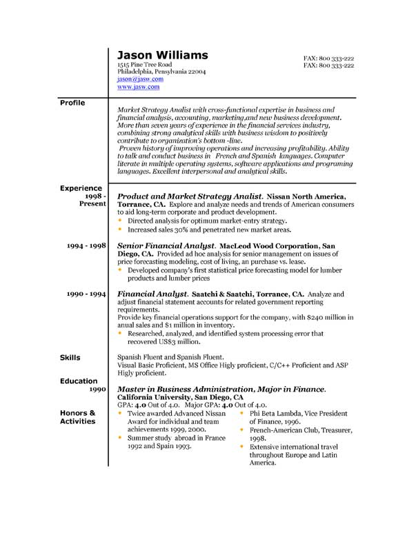 Sample resume 85 free sample resumes by easyjob sample for What is the best template for a resume