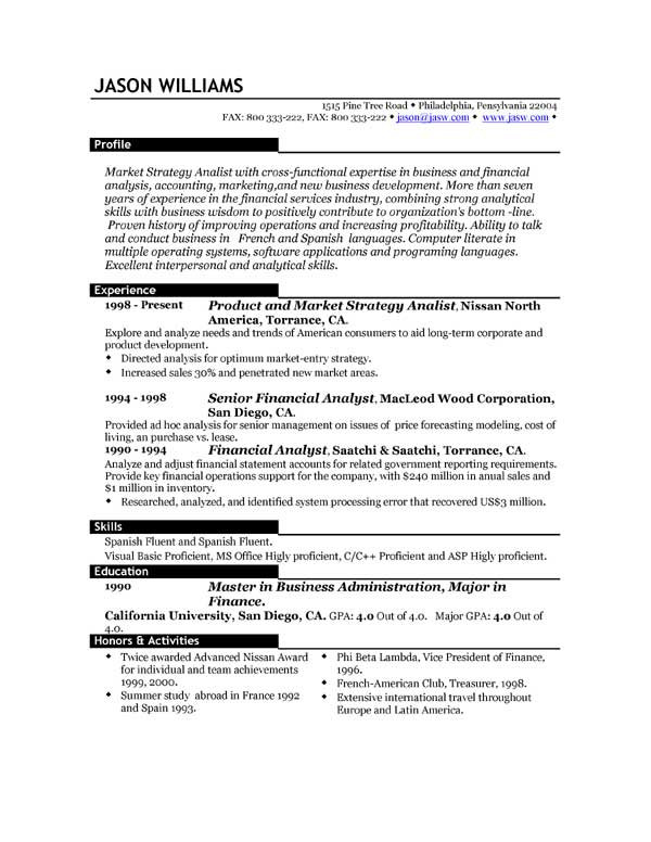 good resume outlines