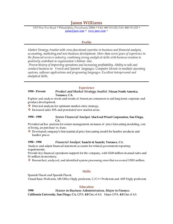 download sample resume format ~ Gopitch.co