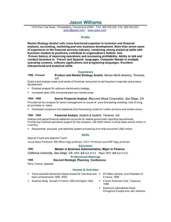 Resume letter sample format