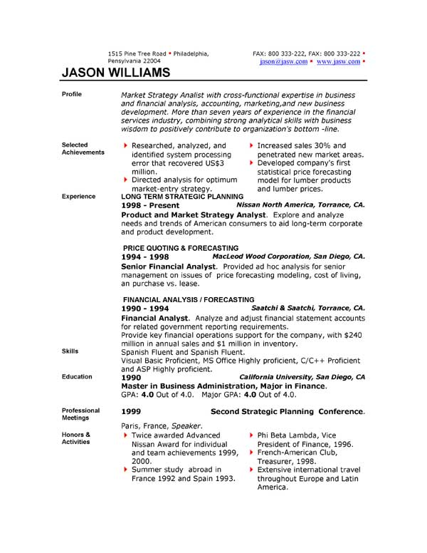 Resumes Formats | Learnhowtoloseweight Net Top Resume Formats