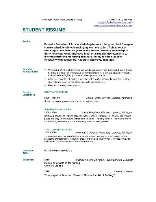 examples of resume for students - Examples Of Resumes For Students