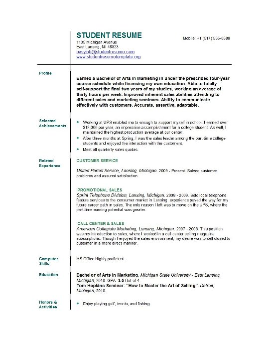 Resume Samples College Student