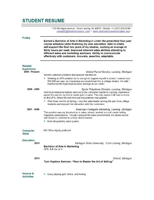 Example Of A Resume For High School Student