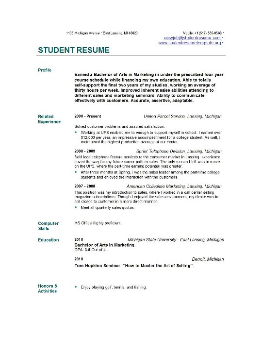 Resume of a phd student