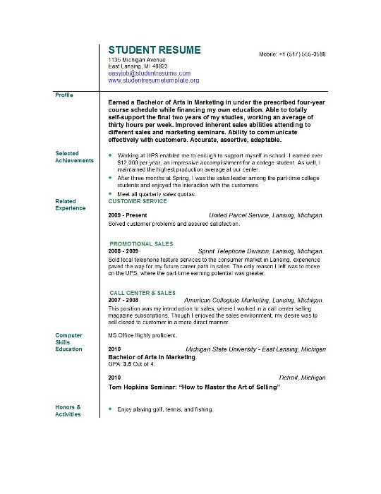 blank resume template student university graduate examples word sample