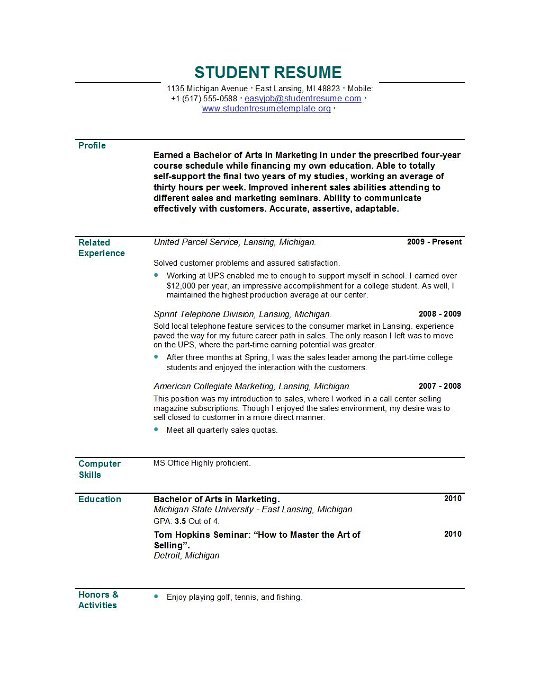 Resume Examples And Samples For Students