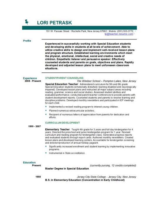 download teacher resume templates by easyjob