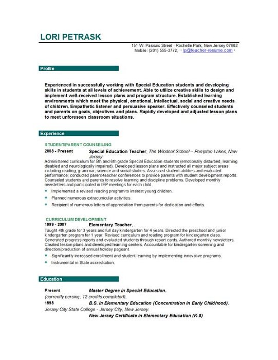 Teaching Resume Objective Examples - Template