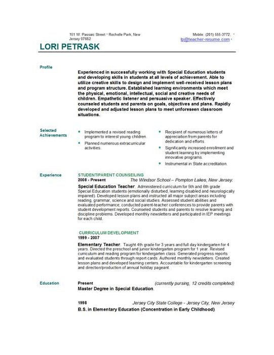 teaching sample resume. special education teacher resume-thumb ... - Example Resume For Teacher