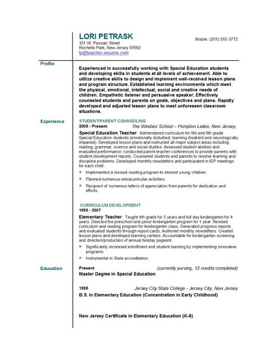 Early Childhood Education Resume Samples | Sample Resume And Free