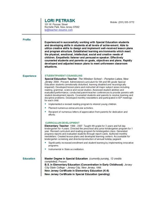 Resume For Teacher Position,sample resume for teacher, Teaching ...