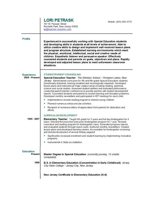 teacher resumes templates free - Special Education Resume Samples