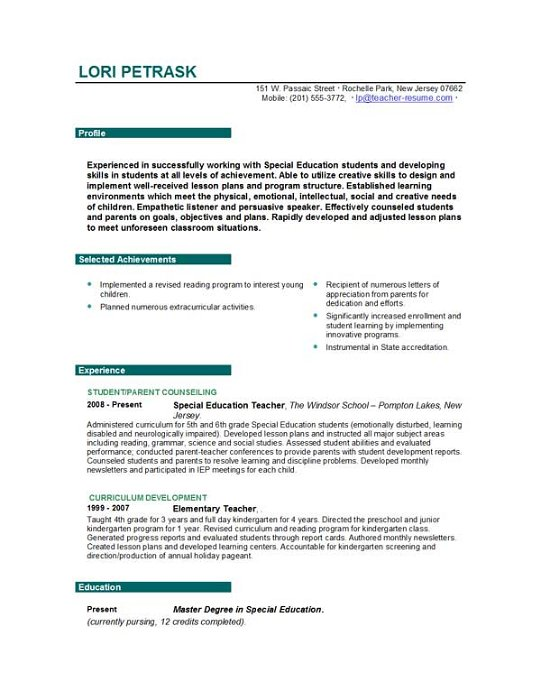 writing resume teacher