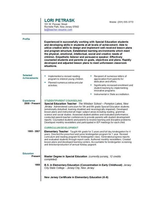 teacher resume and cover letter
