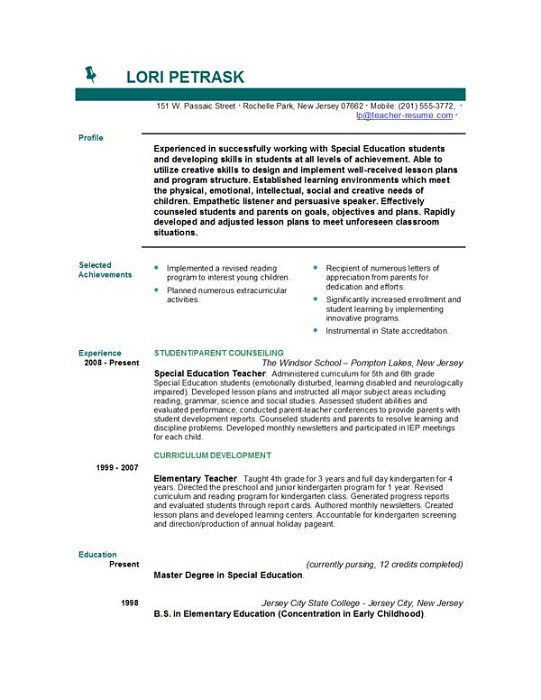 Teaching Objectives For Resumes - Template