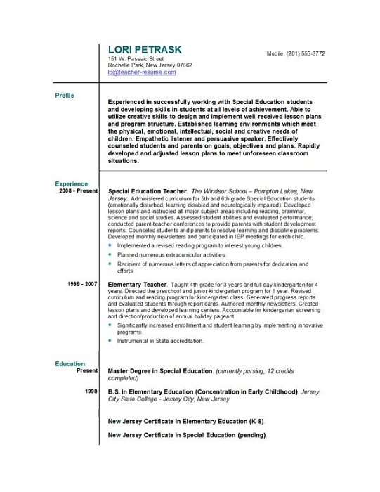Resume Cover Letter For First Year Teachers - Cover Letter Examples